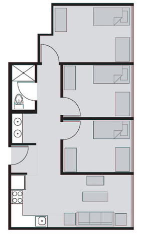 Three Bed Dorm Room Layout