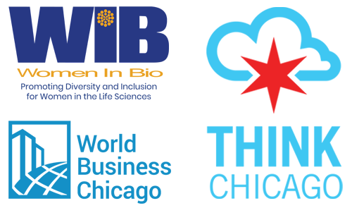Women In Bio Logo; World Business Chicago Logo; Think Chicago Logo