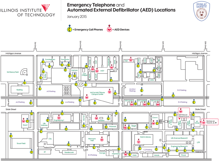 emergency phone and aed locations