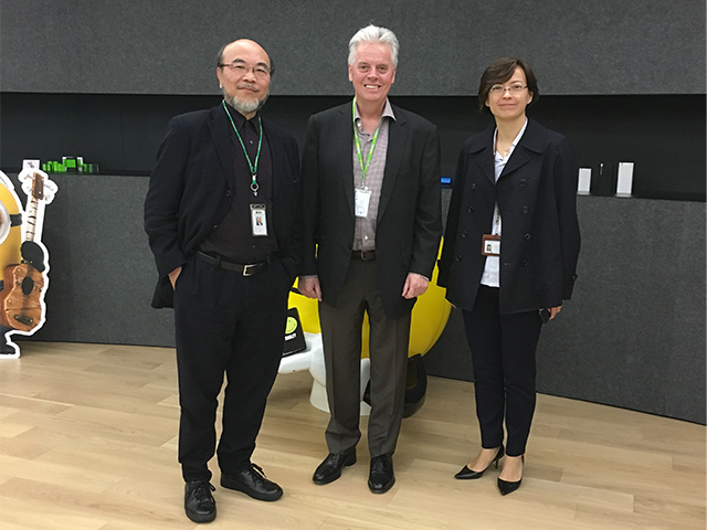 Trustee Victor Lo (DSGN '73), President Alan W. Cramb, and Lo's daughter, Grace (DSGN '96), at the joint headquarters of Gold Peak Industries and KEF Audio Group in March 2017 in Hong Kong.