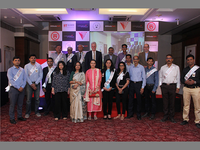 President Alan W. Cramb gathers with alumni during an event in March 2017 in Mumbai.