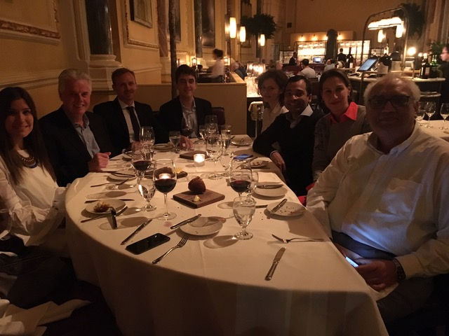 President Alan W. Cramb gathers with alumni from six countries during an event in October 2018 in London.