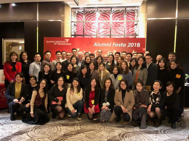 President Alan W. Cramb gathers with more than 60 alumni in December 2018 in Shanghai.