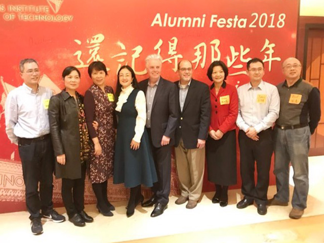President Alan W. Cramb gathers with one of 10 Master of Public Administration cohorts during an event in December 2018 in Hangzhou, China.